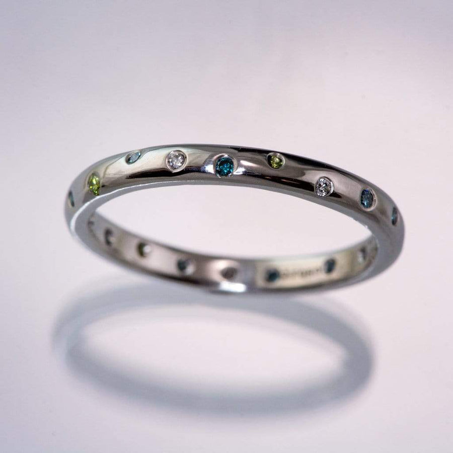 Mariella Band - Narrow Eternity Wedding Ring with white, teal & aqua blue & apple green diamonds