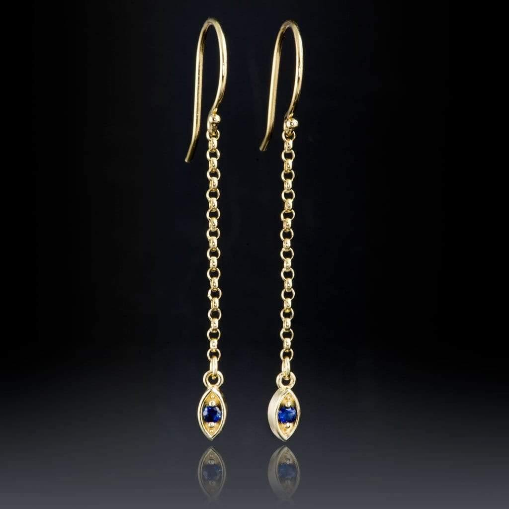 Australian Kings Plain Blue Sapphire Marquise Shape Long Dangle Earrings - by Nodeform