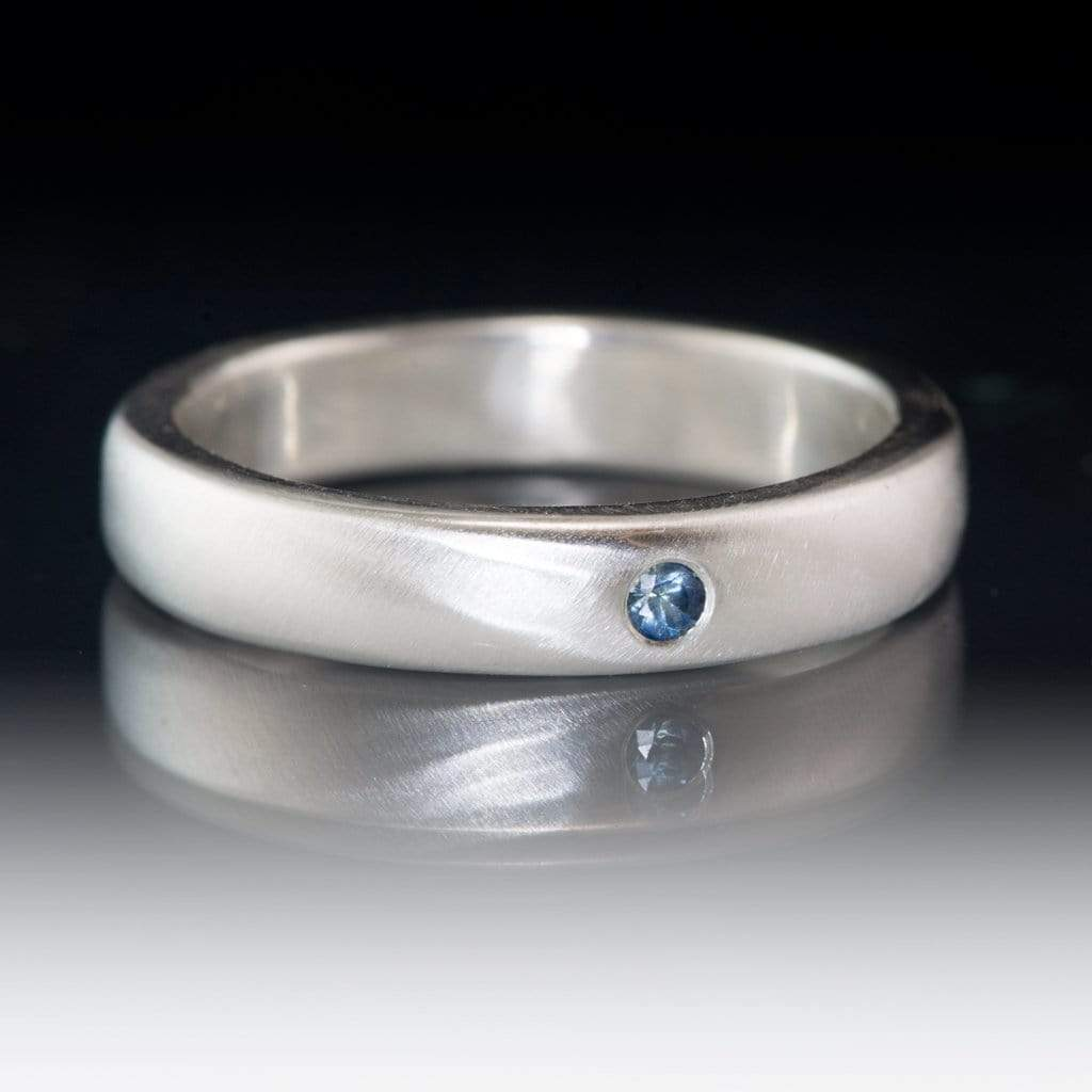 Domed Wedding Band with Flush set Montana Sapphire