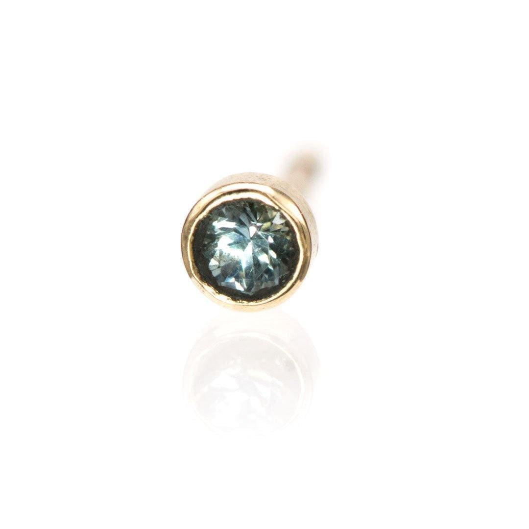 Tiny Montana Sapphire Bezel Set 14k Yellow Gold Stud Earring (Single), Ready to Ship
