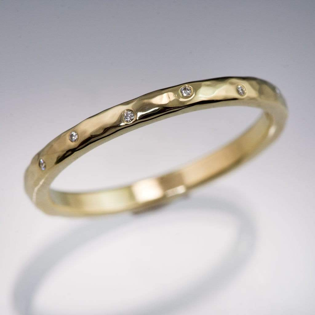 hers textured wedding hammered media band wide gold bands and ring set his
