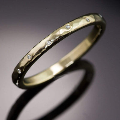 Thin Diamond Wedding Ring Skinny Gold Hammered Texture Wedding Band