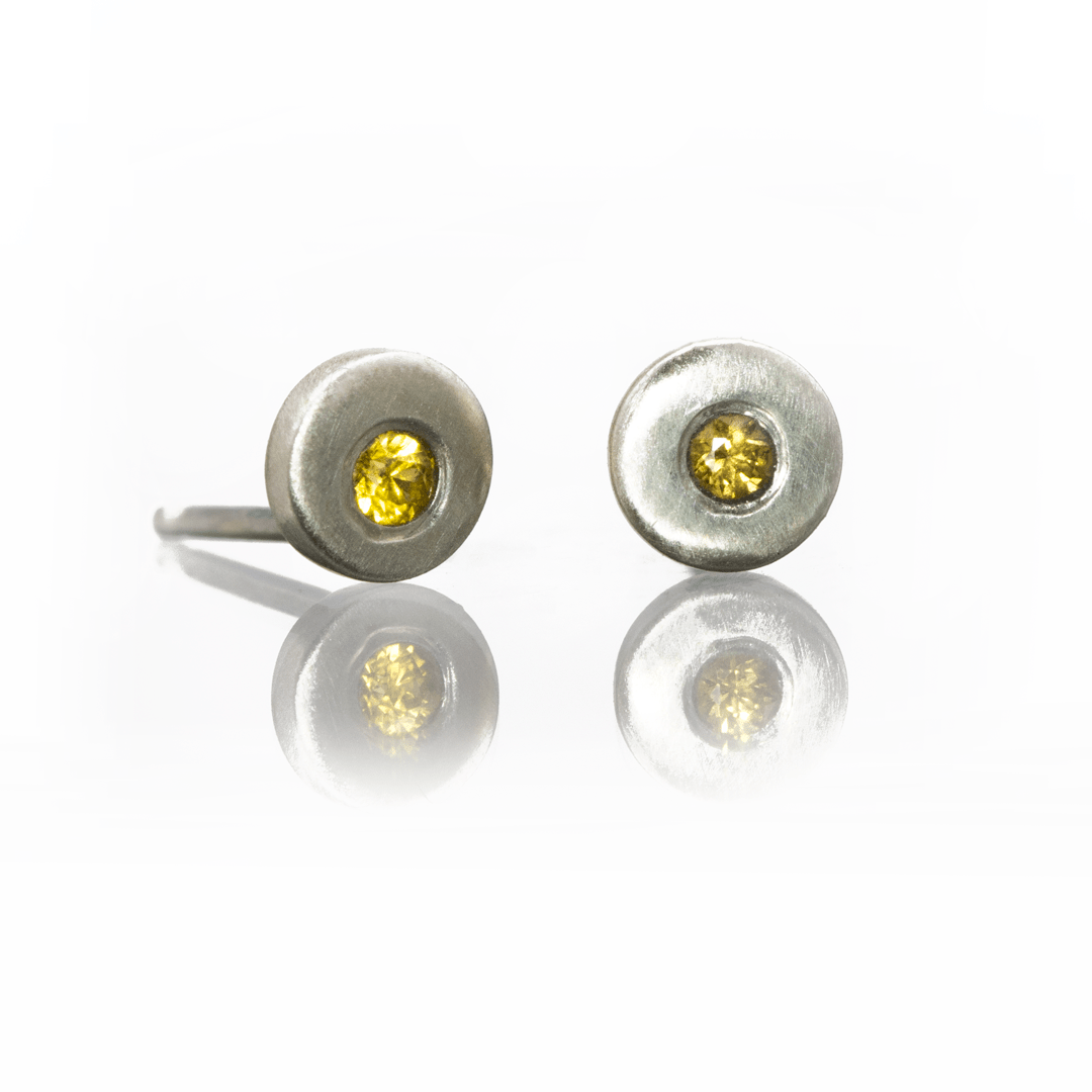 Yellow Sapphire Tiny Sterling Silver Stud Earrings, Ready to Ship