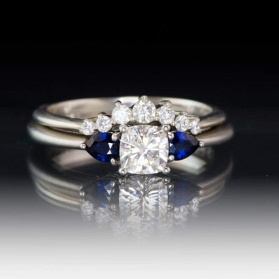 3 Stone Engagement Ring, Prong set Cushion Moissanite & Pear Blue Sapphire Accents