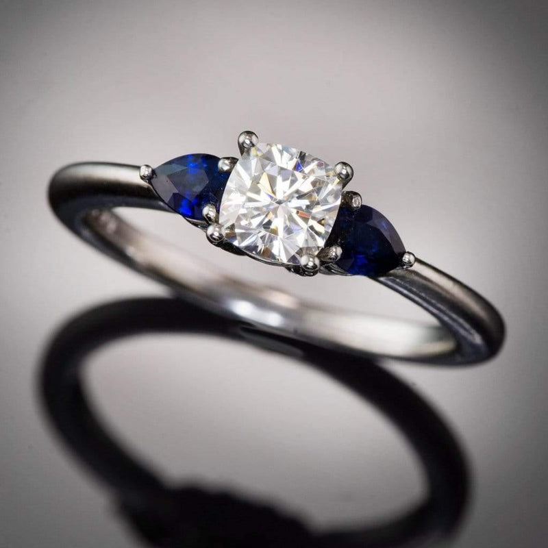 3 Stone Platinum Engagement Ring, Prong set Cushion Supernova Moissanite & Pear Blue Sapphire Accents Ready to Ship