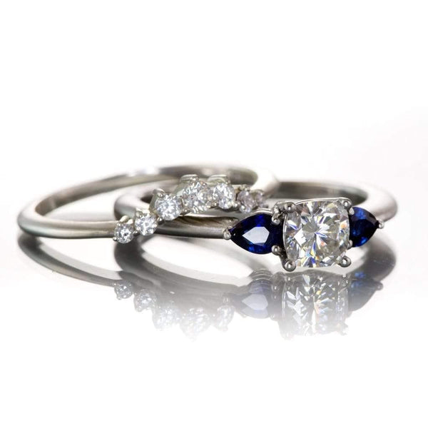 3 Stone Platinum Engagement Ring, Prong set Cushion Supernova Moissanite  & Pear Blue Sapphire Accents , Ready to Ship