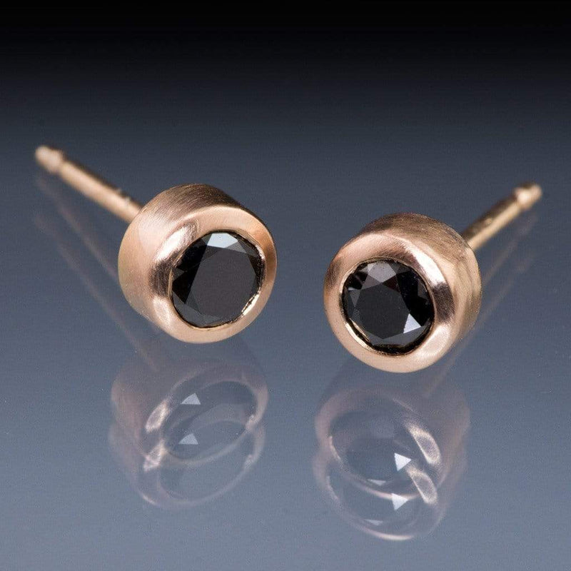 Black Diamond Bezel Set Stud Earrings - by Nodeform