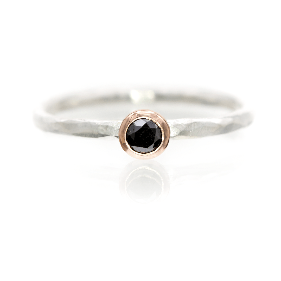 Black Diamond Rose Gold Martini Bezel Hammered Sterling Silver Stacking Ring, Size 4 to 9