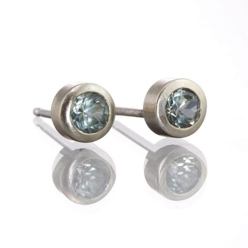 Light Green to Silver White Montana Sapphire Bezel Stud Earrings - by Nodeform