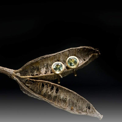 Fair Trade Green Montana Sapphire Martini Bezel Stud Earrings, Ready to Ship in 14k Yellow Gold