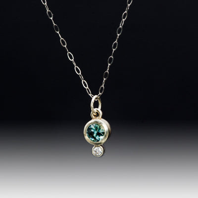 Round Montana Sapphire & Moissanite White Gold Bezel Pendant Necklace