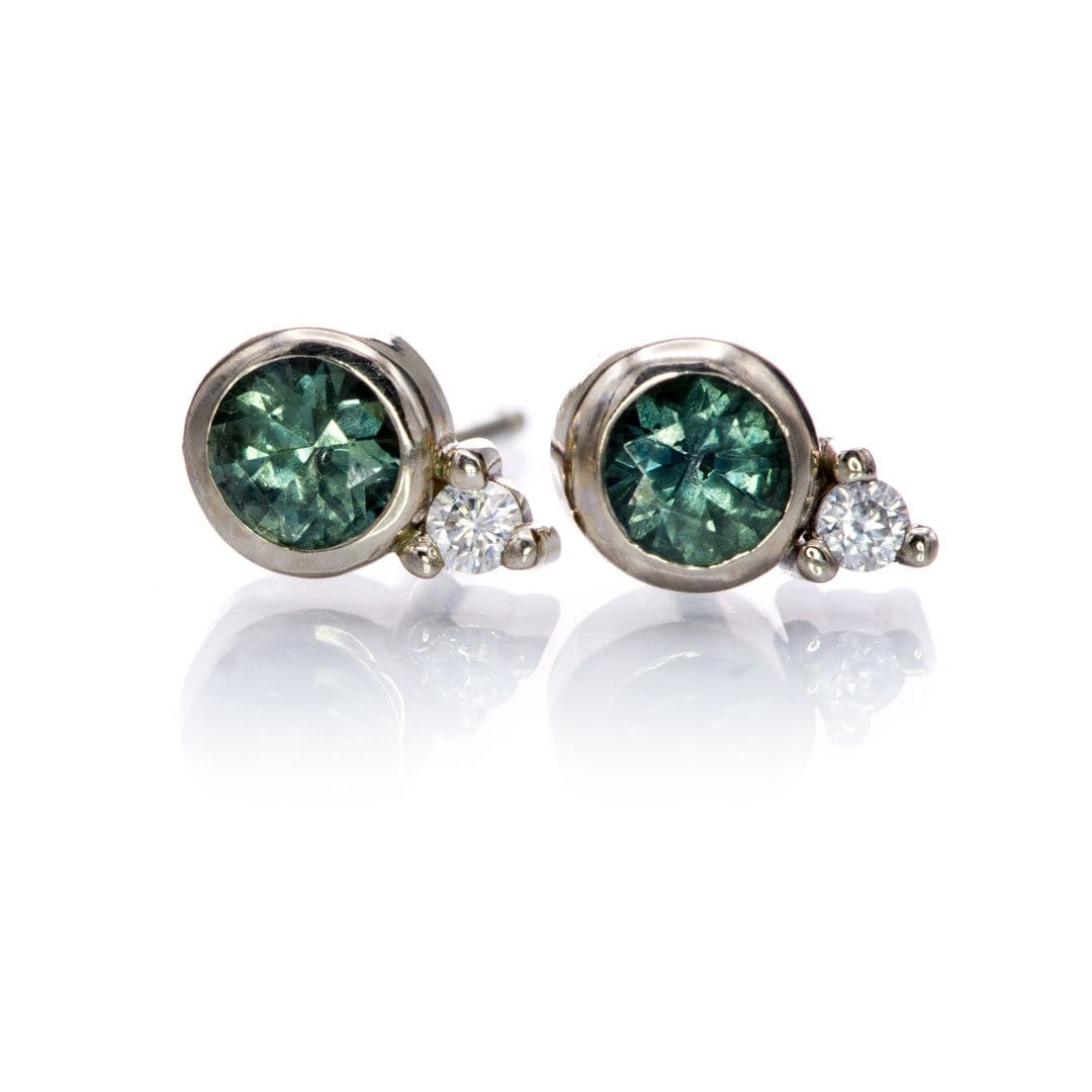 Fair Trade Blue-Green Montana Sapphire Bezel Stud Earrings With Moissanite Accents