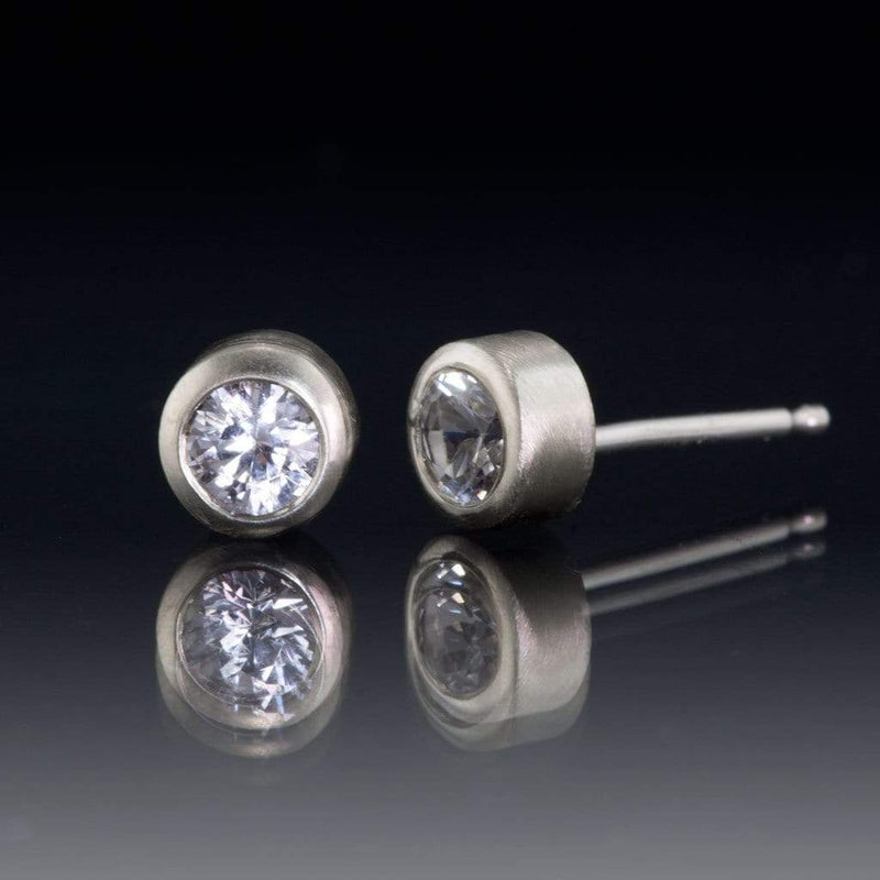 White Sapphire 14k White Gold Bezel Stud Earrings, Ready to Ship