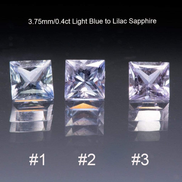 Light Blue to Lilac Sapphire Engagement Ring Princess Cut Bezel Solitaire