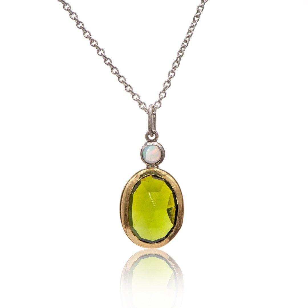 Oval Rose cut Green Tourmaline & Opal Pendant Necklace in Sterling Silver and 18k gold , Ready to ship