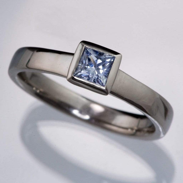 Light Blue to Lilac Sapphire Engagement Ring Princess Cut Bezel Solitaire - by Nodeform