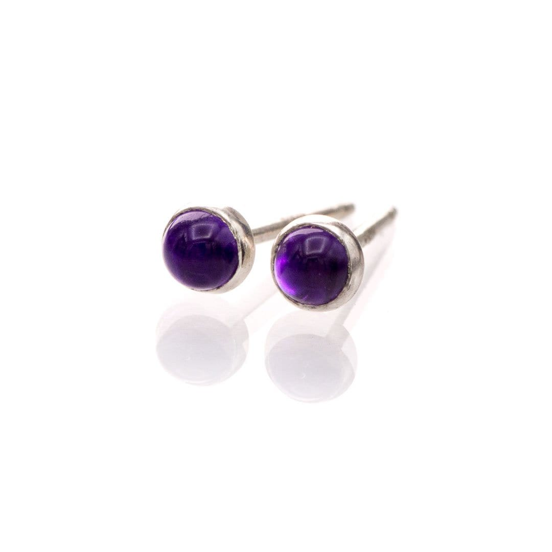 Tiny Purple Amethyst Cabochon Stud Earrings in Sterling Silver, Ready to Ship