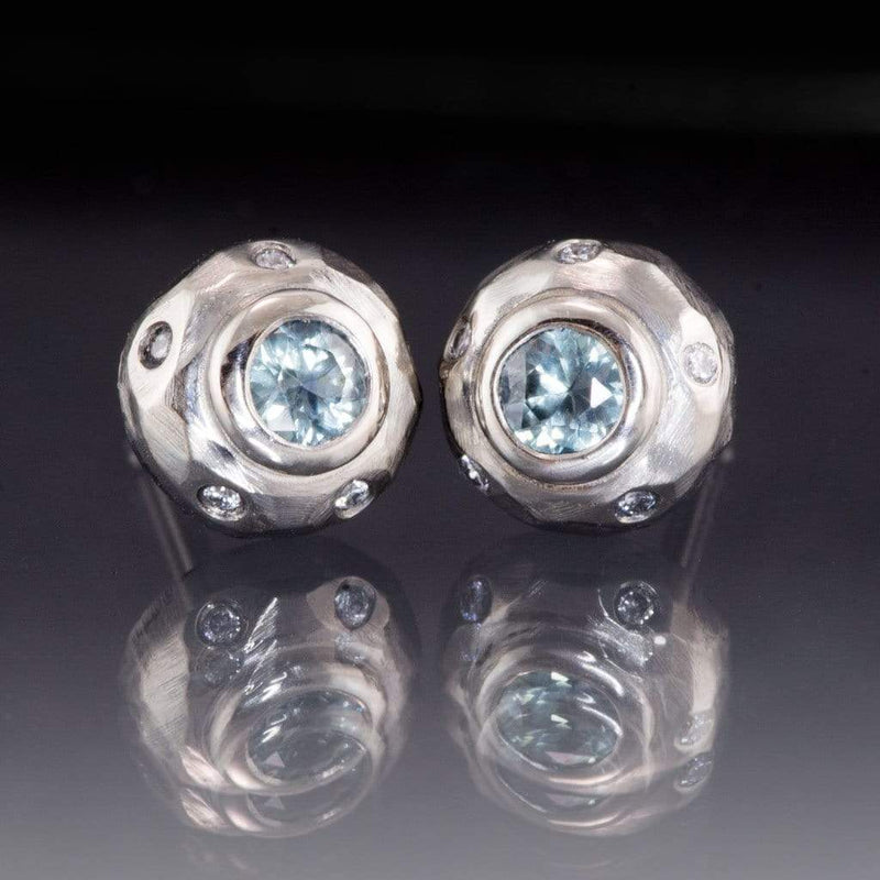 Blue / Green Montana Sapphire Bezel Textured Diamond Halo Palladium Studs Earrings, ready to ship