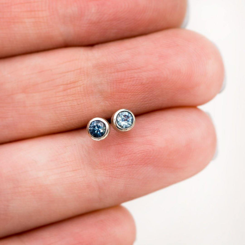 3mm Blue Montana Sapphire Simple Bezel Stud Earrings