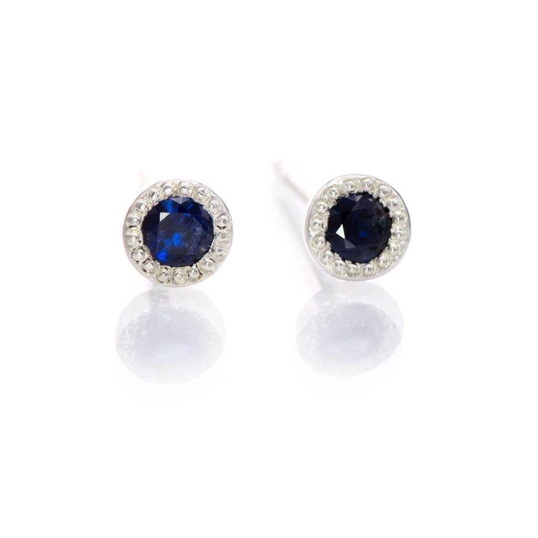 3mm Blue Sapphire Milgrain Textured Sterling Silver Martini Stud Earrings, Ready to Ship