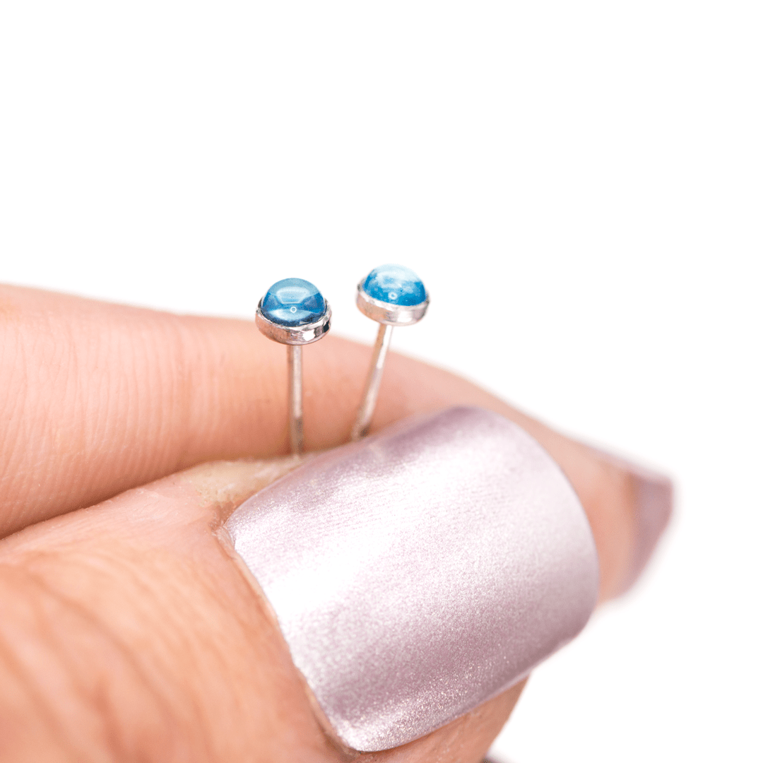 Tiny Blue Topaz Cabochon Stud Earrings in Sterling Silver, Ready to Ship