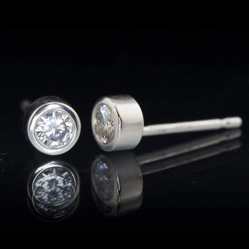 Round Brilliant Cut Moissanite Bezel Stud Earrings