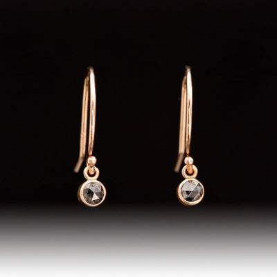 Dark Gray Salt & Pepper Diamond Bezel Set 14k Rose Gold Dangle Earrings, Ready to Ship