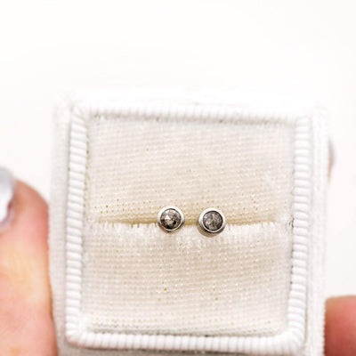 3mm Salt & Pepper Rose Cut Diamond Simple Bezel Set Gold Stud Earrings