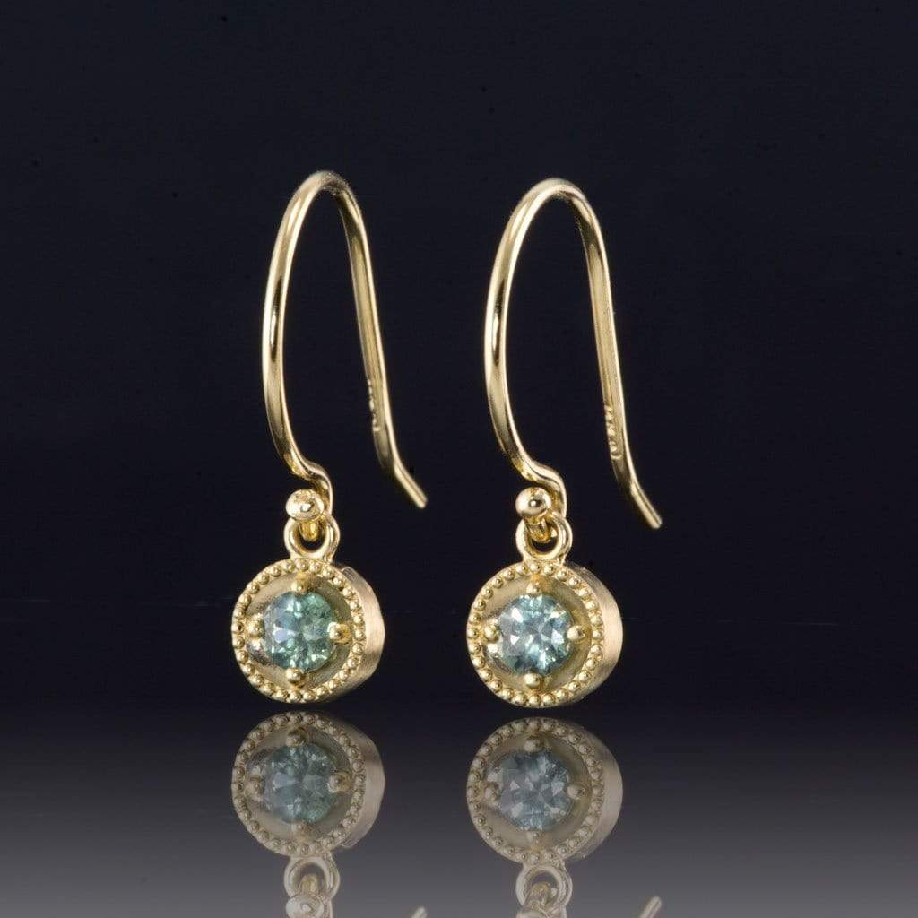 Green Montana Sapphire Milgrain Dangle 14k Yellow Gold Earrings - by Nodeform