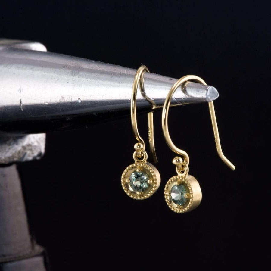 Green Montana Sapphire Milgrain Dangle 14k Yellow Gold Earrings