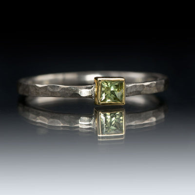 Princess Cut Light Green Sapphire Low Gold Bezel Hammered Sterling Silver Ring, Size 4 to 6.5