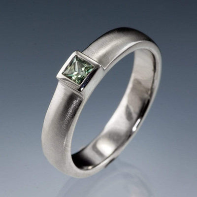 Princess Cut Light Green Sapphire Low Bezel Wedding or Engagment Ring - by Nodeform