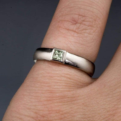 Princess Cut Light Green Sapphire Low Bezel Wedding or Solitaire Engagement Ring