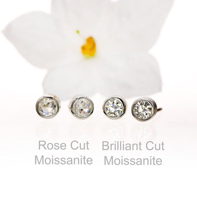 Round Rose Cut Moissanite Bezel Stud Earrings