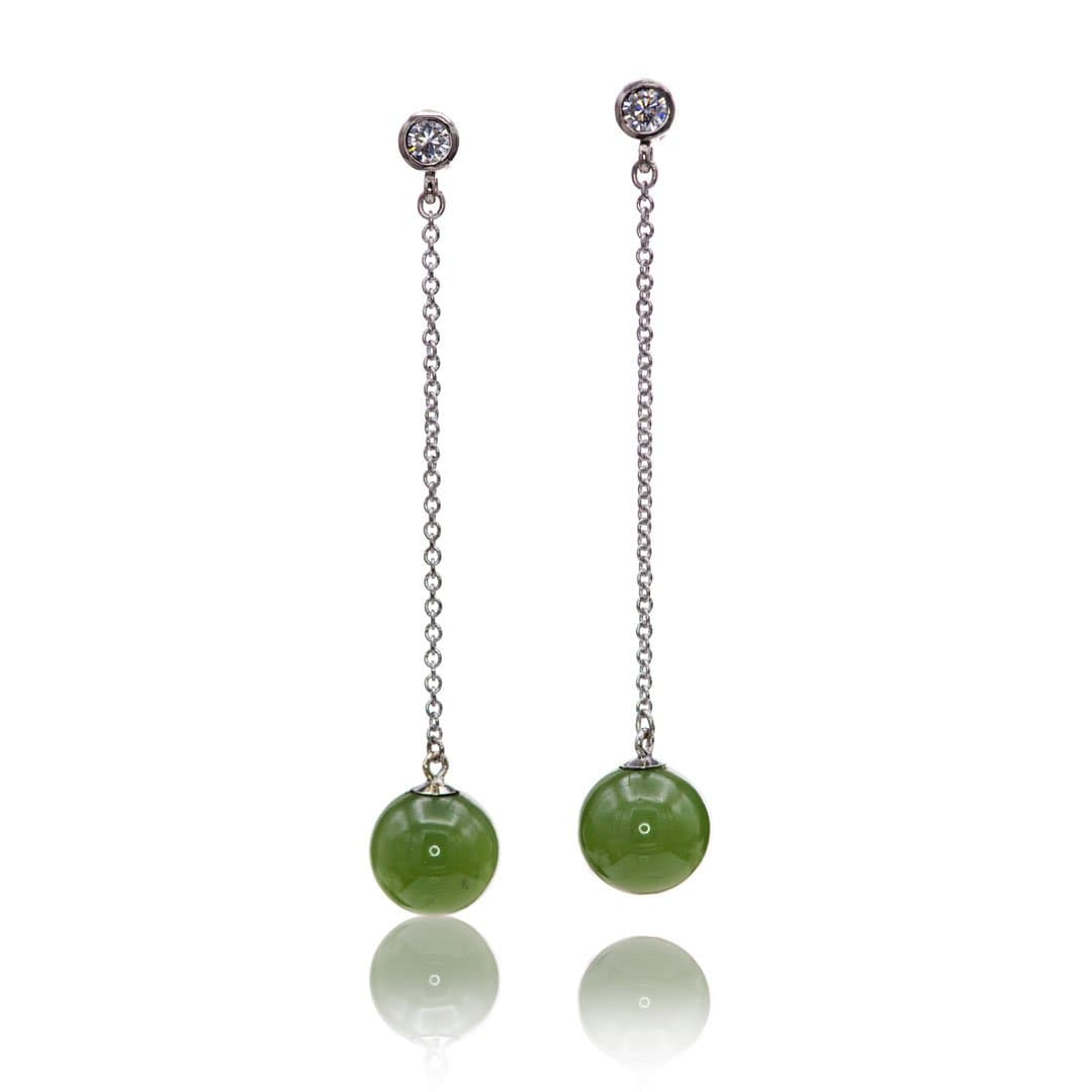Moissanite and Jade Beads Long Dangle Earrings in 14k White Gold, Ready to Ship