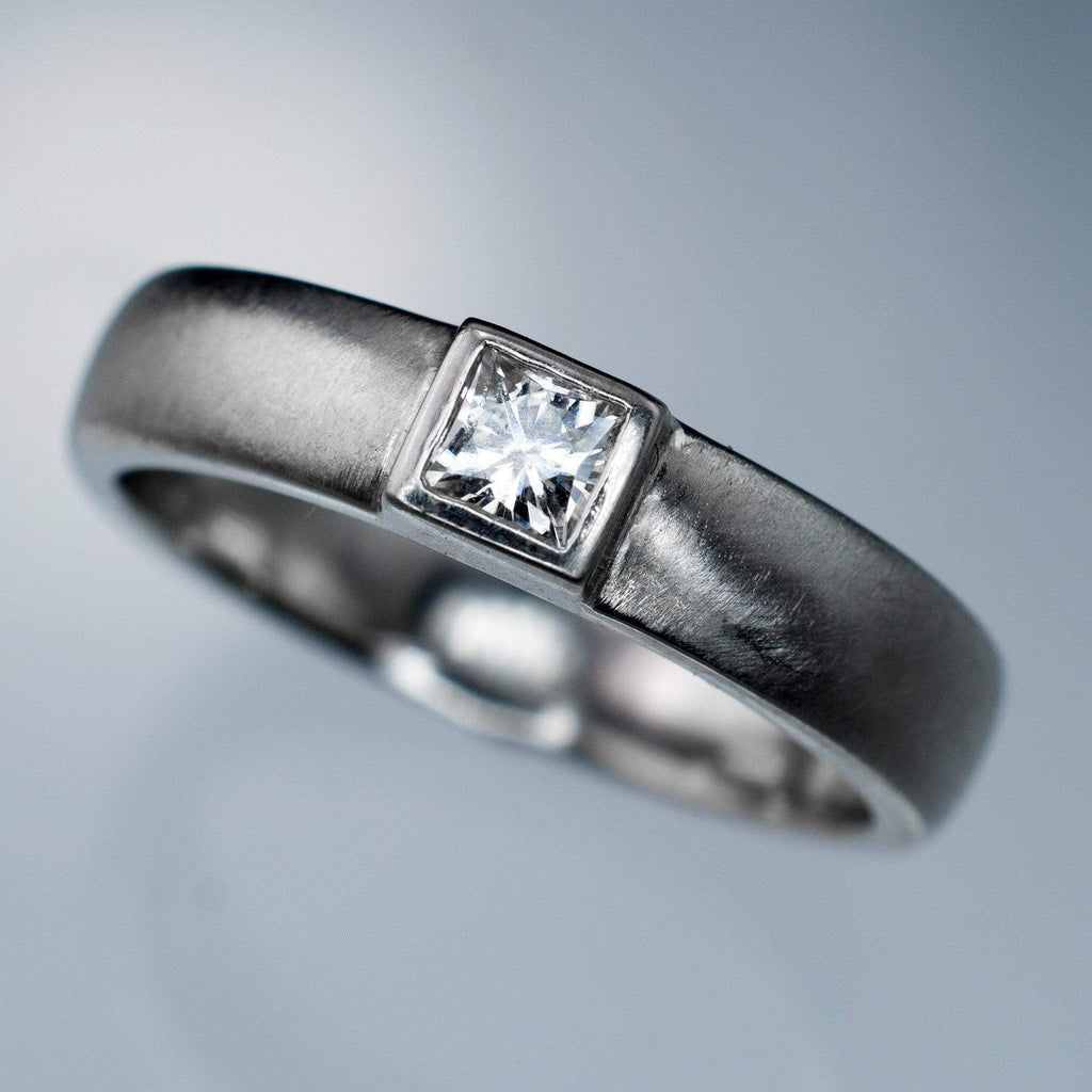 Princess Cut Moissanite Modern Bezel Set Wedding Ring