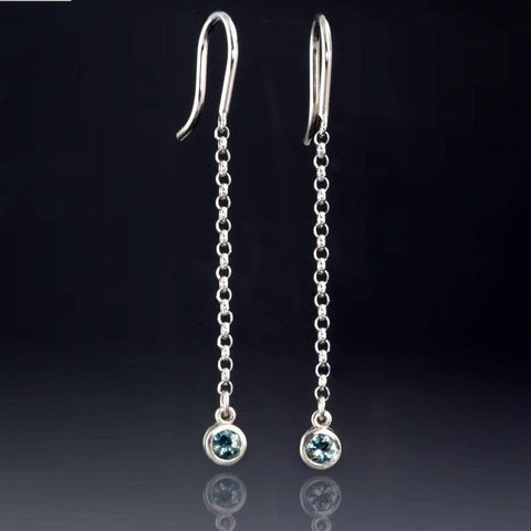 Green / Blue Montana Sapphire Long Dangle White Gold Earrings