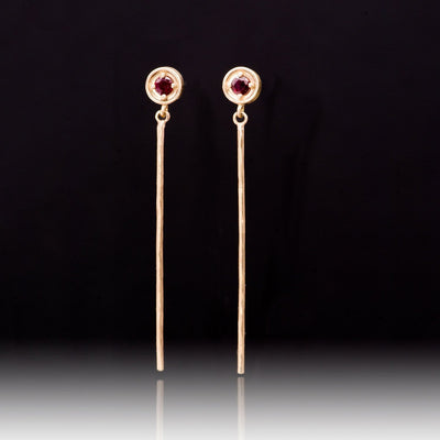 Round Prong Set Ruby 14k Rose Gold Long Dangle Earrings