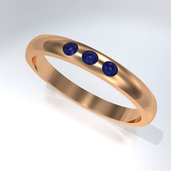 Narrow 3 Blue Sapphires Domed Wedding Ring, Contoured or Straight Band