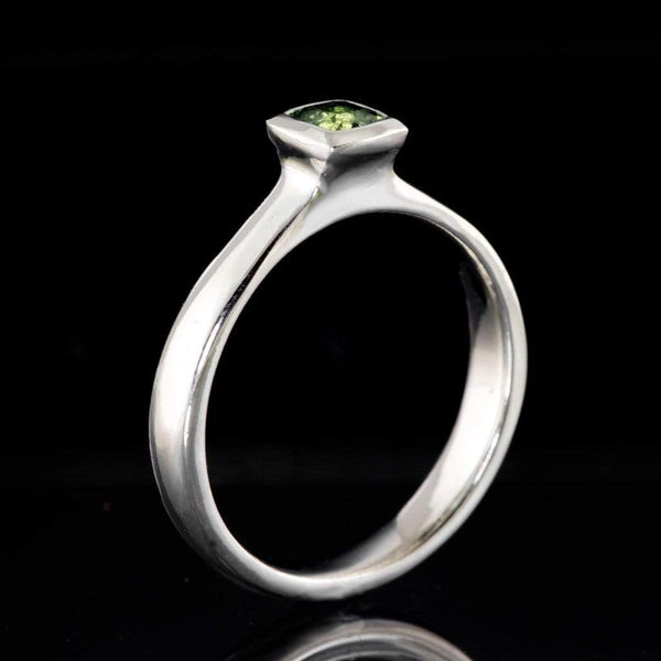 Green Cushion Sapphire Solitaire Bezel Engagement Ring