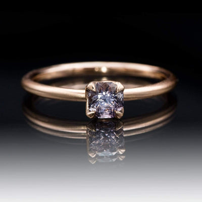 Octagon Purple Spinel Prong Set Rose Gold Stacking Solitaire Engagement Ring, Ready To Size 4-9