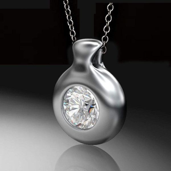 Round Brilliant Diamond Palladium Drop Pendant Necklace