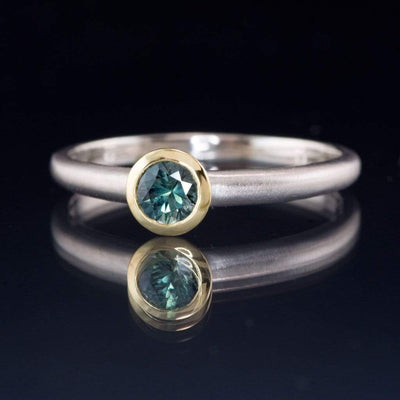 Mixed Metal Blue-Green Round Montana Sapphire Engagement Ring, Ready to size 6 to 9 - by Nodeform