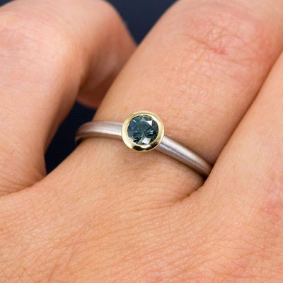 Belinda Bezel Set Solitaire Mixed Metal Engagement Ring - Setting only