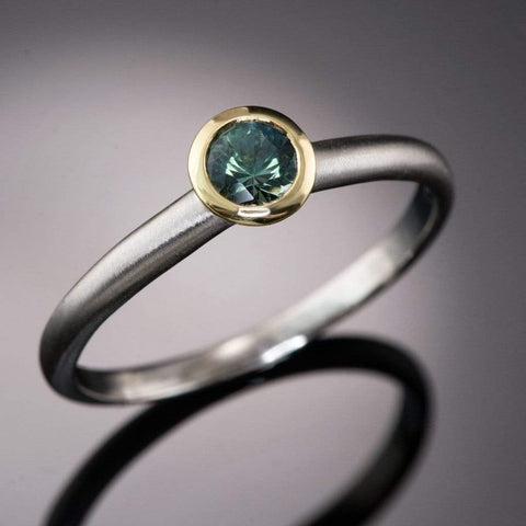 Mixed Metal Blue-Green Round Montana Sapphire Engagement Ring, Ready to size 6 to 9
