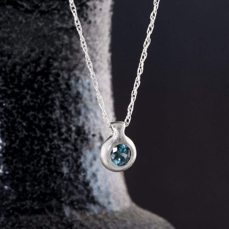 Teal Blue Fair Trade Montana Sapphire Round Palladium Drop Pendant Necklace, Ready to ship