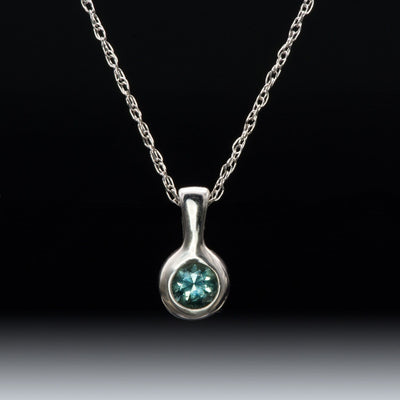 Teal Blue-Green Fair Trade Montana Sapphire Round Palladium Drop Pendant Necklace, Ready to ship