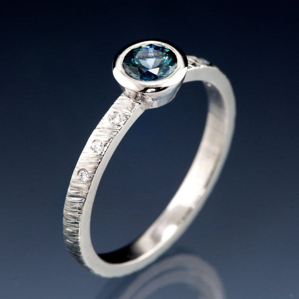 Teal Fair Trade Montana Sapphire & Canadian Diamond Bezel Rasp Textured Engagement Ring, Ready To Ship, size 4.5-9