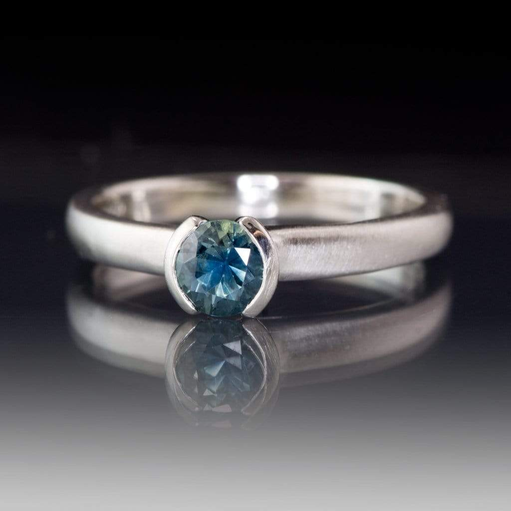 Fair Trade Teal / Blue Montana Sapphire Tulip Half Bezel Engagement Ring - by Nodeform