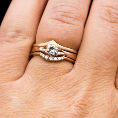 Round Light Gray Moissanite Half Bezel Fold Solitaire Rose Gold Engagement Ring, Ready to Ship